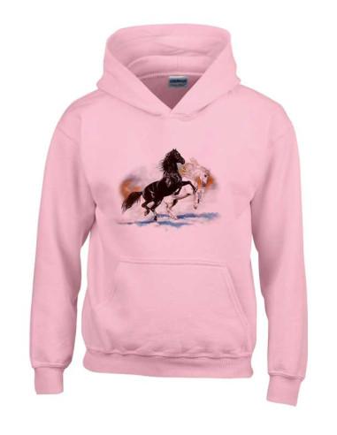 Sweat-shirt rose enfant - Deux chevaux cabrés