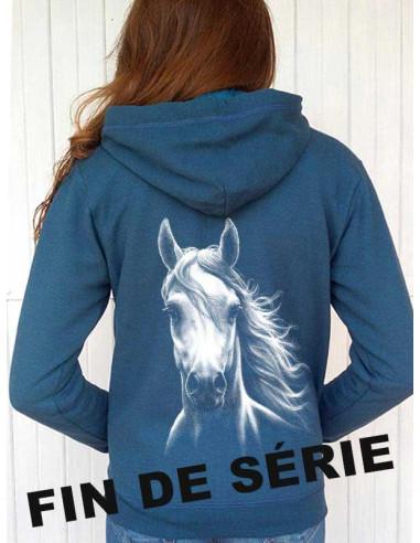 Sweat-shirt bleu capuche et full zip - Femme - Cheval blanc