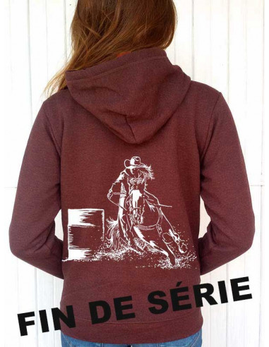 Sweat-shirt couleur rouille capuche et full zip - Femme - Barrel. Vue de dos.
