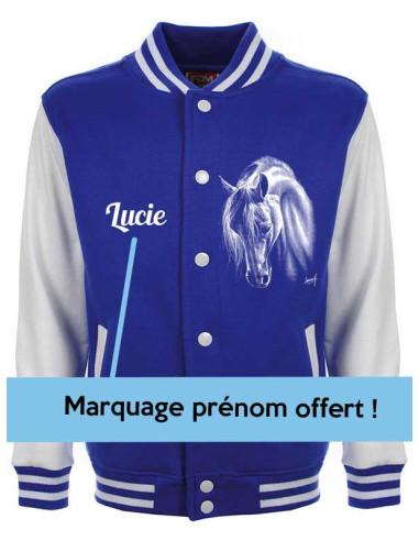 Veste teddy avec pressions, bleu électrique mixte pour enfants avec un cheval blanc