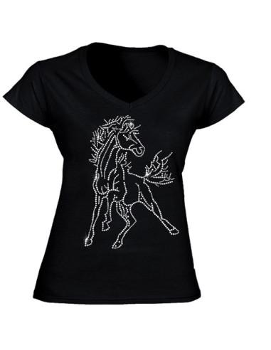 "T-shirt femme noir-strass ""Cheval"""