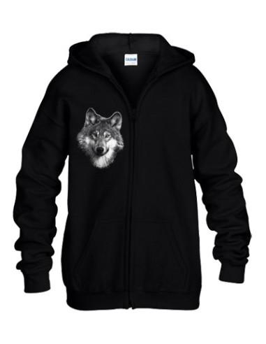 Sweat-shirt noir capuche avec zip - Loup