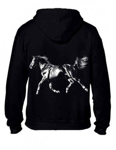 Sweat-shirt zippé - Mixte - Cheval arabe