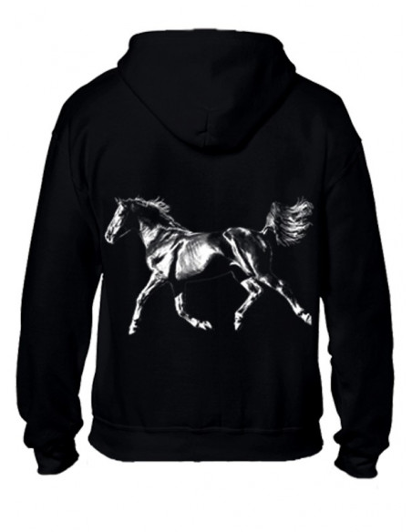 Sweat-shirt avec zip - Femme - Cheval arabe au trot