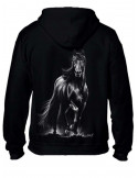 Sweat-shirt capuche avec zip - Mixte -Cheval Frison