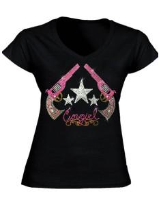 T-shirt noir - Pistolets en strass