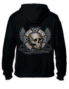 SWEAT-SHIRT NOIR AVEC ZIP - TETE DE MORT CELTIC
