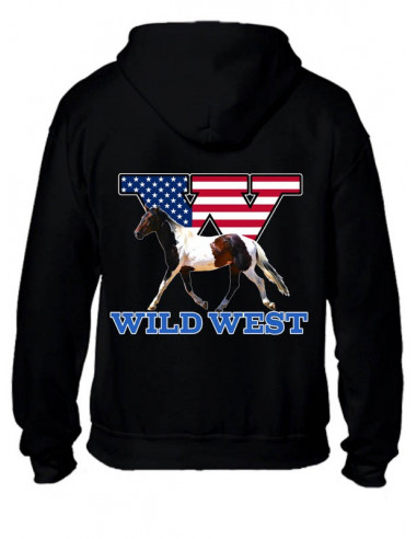 SWEAT-SHIRT NOIR AVEC ZIP - Cheval Pinto - WILD WEST