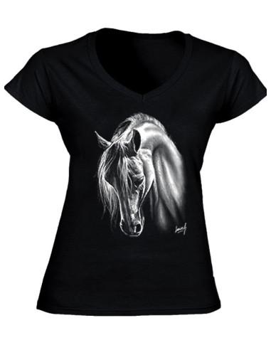 T-shirt couleur, col V - Femme - Cheval Crins blancs