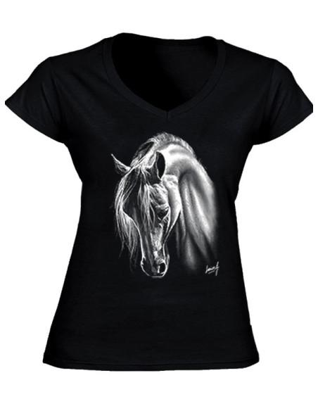 T-shirt noir, col V - Femme - Cheval Crins blancs