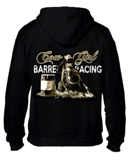 Sweat-shirt noir avec zip - Barrel Racing