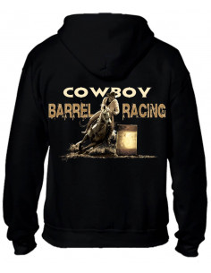 Sweat-shirt pour homme. Barrel racing impression dans le dos