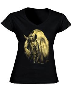 T-shirt cheval - Femme - Motif métallisé or