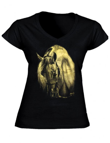T-shirt noir - Femme - Motif d'un cheval métallisé or