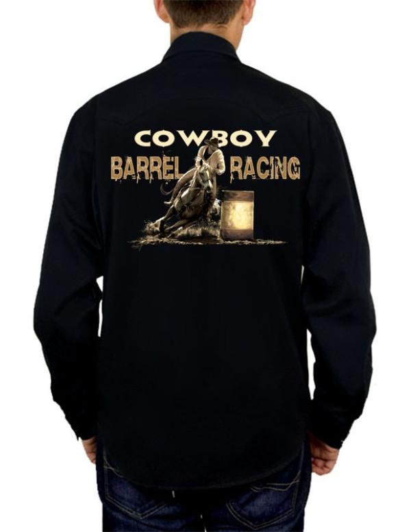 chemise noire style western homme barrel racing. Black Bedroom Furniture Sets. Home Design Ideas