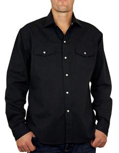 Chemise noire - Homme - Loup - Devant