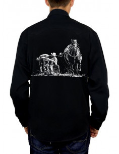 Chemise noire - Homme - Bull Dogging. Dos