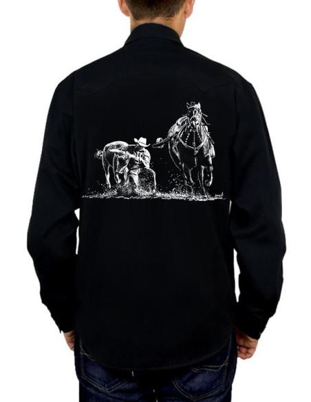 Chemise noire - Homme - Western - Bull Dogging