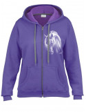 Sweat-shirt Lilas capuche et full zip - Femme - Cheval crins blancs. Devant.