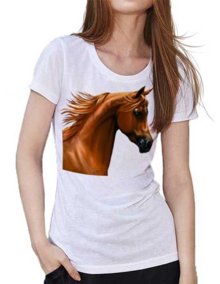 T-shirt Blanc femme - Cheval Arabe