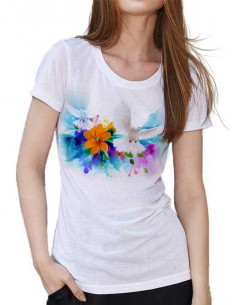 T-shirt avec colombes