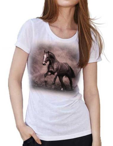T-shirt Blanc Cheval - Sepia Horse