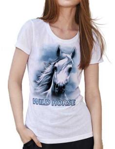 T-shirt Blanc avec un cheval