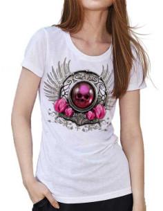 T-shirt blanc - Tête de mort bijoux