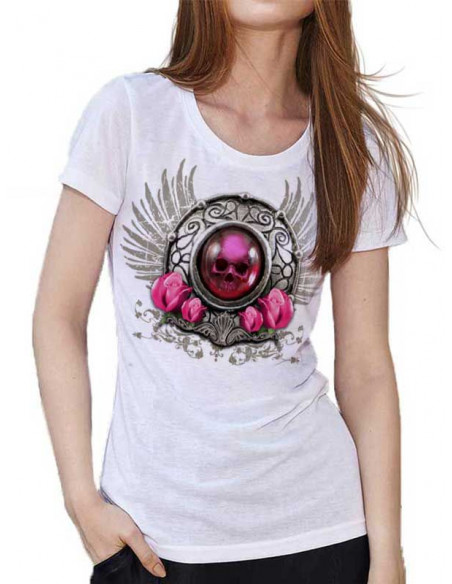 T-shirt blanc - Femme - Tete de mort bijoux