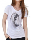 T-shirt blanc col V - Femme - cheval - Dream horse