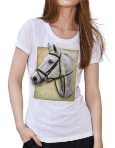 T-shirt blanc col V - Femme - Cheval connemara