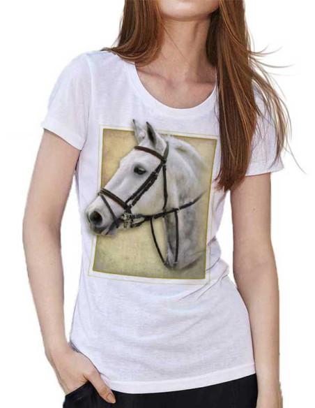 T-shirt blanc - Femme - Cheval connemara