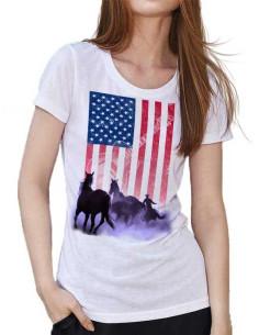 T-shirt Blanc - Femme - Cowboy et drapeau