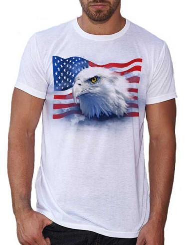 T-shirt adulte Aigle avec drapeau Américain