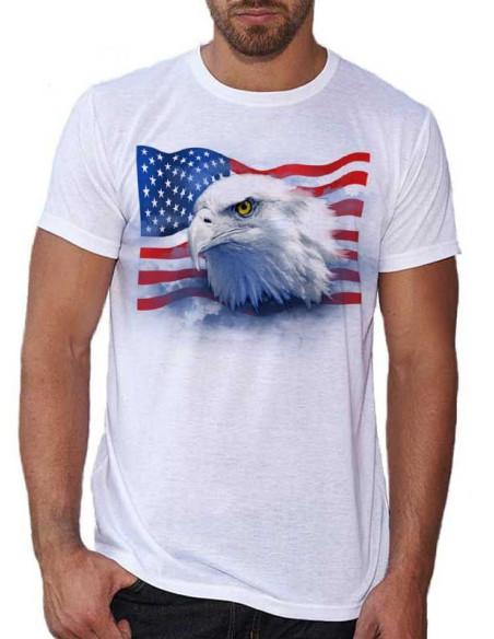 T-shirt blanc homme. Aigle avec drapeau Americain