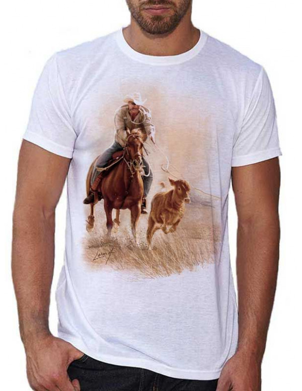 t shirt blanc pour homme western cowboy. Black Bedroom Furniture Sets. Home Design Ideas