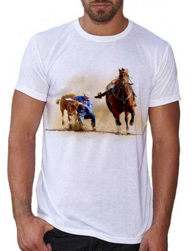 T-shirt blanc Homme Motif Western - Roping 2