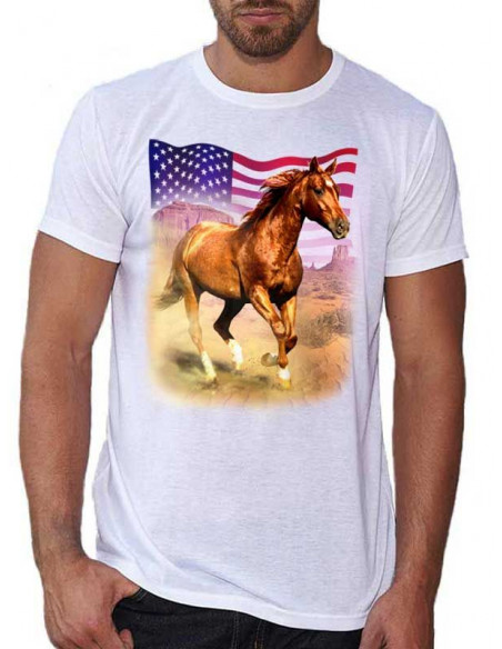 T-shirt blanc - Homme - Cheval