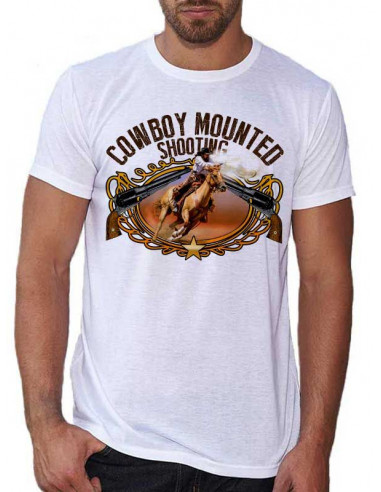 T-shirt blanc - homme - Cowboy Mounted Shooting