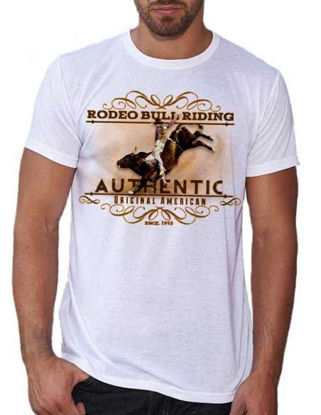 T-shirt blanc - Homme - Rodeo bull riding