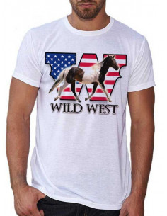 T-shirt blanc - Homme - Cheval pinto