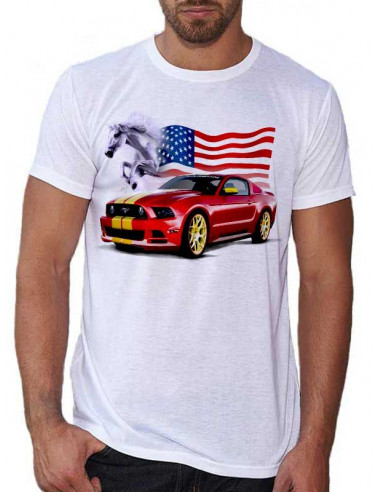 T-shirt blanc pour homme. Mustang rouge