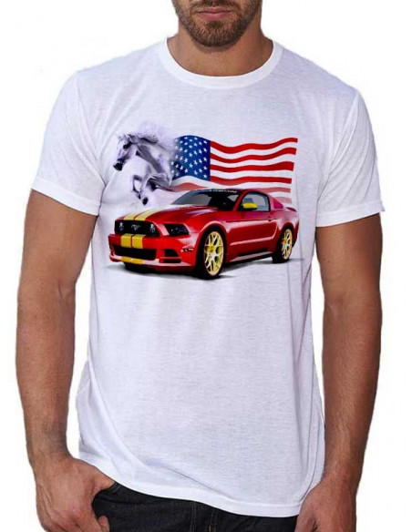 T-shirt Blanc Homme. Voiture - Mustang rouge