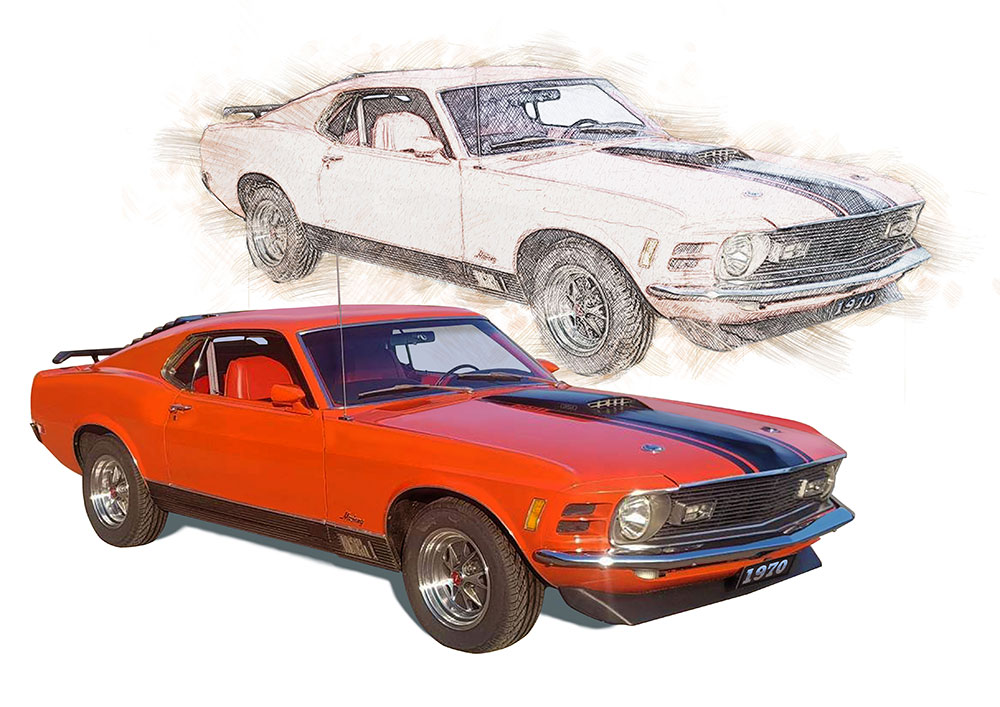 Croquis d'une mustang orange